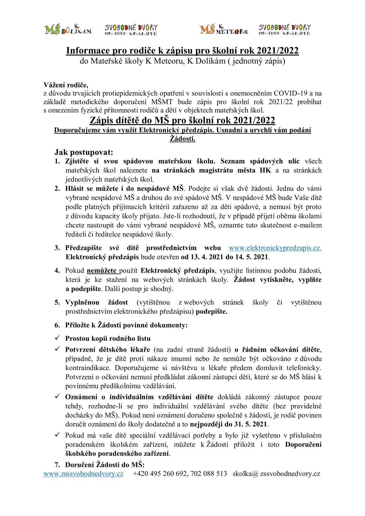 Zápis do MŠ 2021/2022